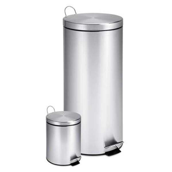 Honey Can Do Stainless Steel 30L + 3L Step Trash Can Combo