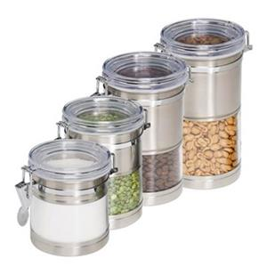 Honey Can Do Stainless and Acrylic Canisters (4 Pieces)