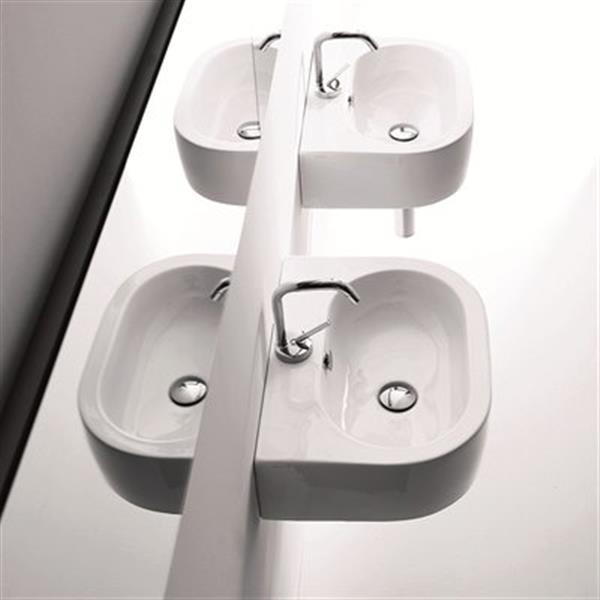 WS Bath Collections Kerasan 18.1-in x 14.6-in White Semi-Circle Bathroom Sink