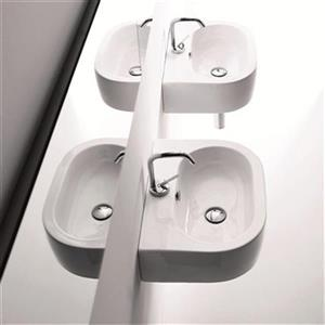 WS Bath Collections Kerasan 18.1-in x 14.6-in White Semi-Circle Bathroom Sink