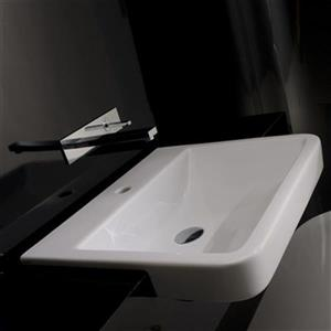 WS Bath Collections 23.2-in x 19.3-in White Ceramica Valdama Rectangular Bathroom Sink