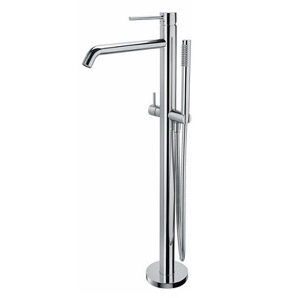 WS Bath Collections Muci 11-in Silver Light Free Standing Shower Faucet with Diverter and Handheld Shower Set