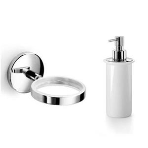 WS Bath Collections Spritz 6.90-in Ceramic White Soap Dispenser and Holder
