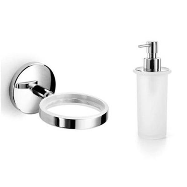 WS Bath Collections Spritz 6.90-in Frosted Glass Soap Dispenser and Holder