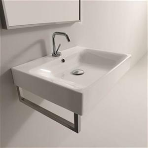WS Bath Collections Kerasan 23.6-in x 17.7-in White Rectangular Bathroom Sink