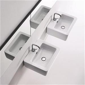 WS Bath Collections Kerasan 23.6-in x 16.9-in White Rectangular Bathroom Sink
