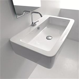 WS Bath Collections Kerasan 15.7-in x 15.7-in White Rectangular Bathroom Sink