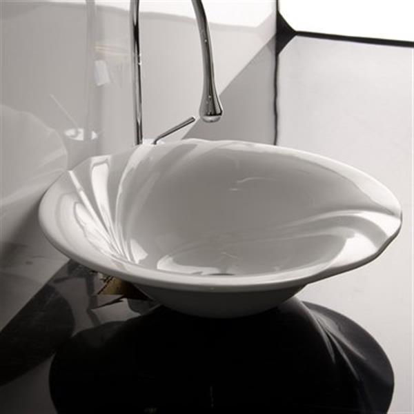 WS Bath Collections 18.8-in x 18.8-in White Ceramica Valdama Round Bathroom Sink