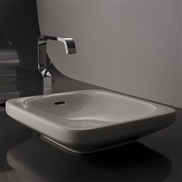 WS Bath Collections Start 45C 17.7-in x 17.7-in White Ceramica Valdama Square Bathroom Sink