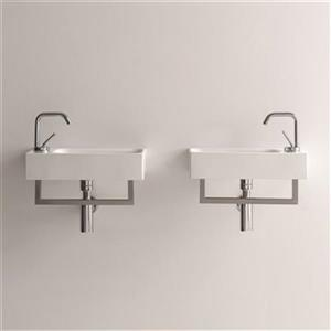 WS Bath Collections Kerasan 17.7-in x 9.8-in White Rectangular Bathroom Sink