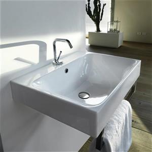 WS Bath Collections Kerasan 15.7-in x 13.8-in White Rectangular Bathroom Sink