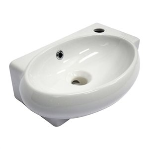 ALFI Brand 17-in x 10.75-in Small White Wall Mounted Ceramic Oval Bathroom Sink