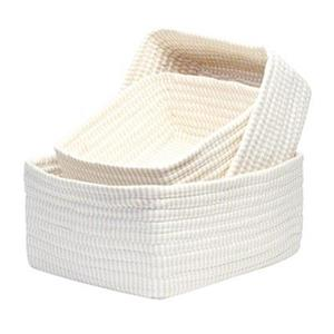 Colonial Mills 8-in x 14-in White Ticking Stripe Nesting Basket Set