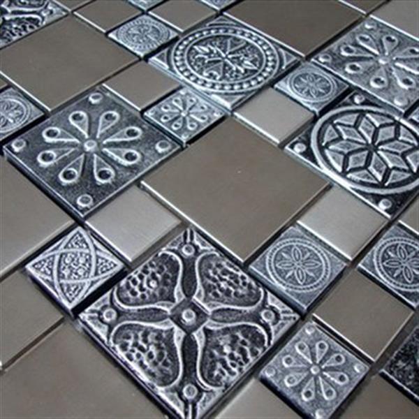Tuile murale/dosseret, acier inox/étain texturé, 11 mcx