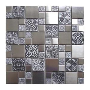 Roman Pattern with Accent Tile - Stainless/Pewter - 11-Pack