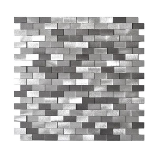 Eden Mosaic Tiles 3D Raised Brick Pattern Grey Blends Aluminum Tile - 8-Pack