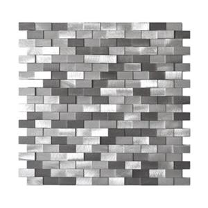 3D Raised Brick Pattern Grey Blends Aluminum Tile - 8-Pack.