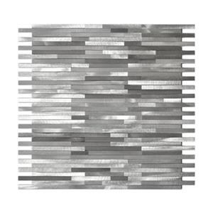 Grey Blends Thin Lines Aluminum Mosaic Tile - 11-Pack.