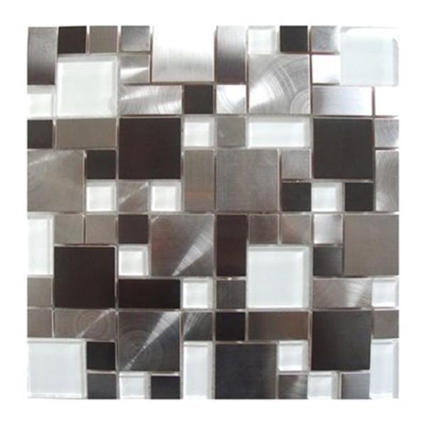 Tuile murale/dosseret pavés, acier inox/verre blanc, 11 mcx