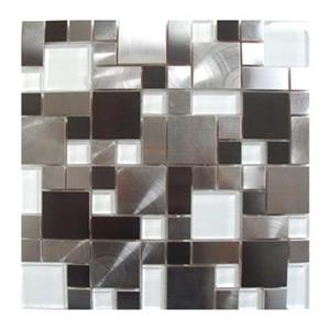 Modern Cobble Tile - Stainless Steel/White Glass - 11-Pack