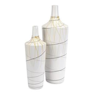 IMAX Worldwide Curasso White Retro Finish Vases (Set of 2)
