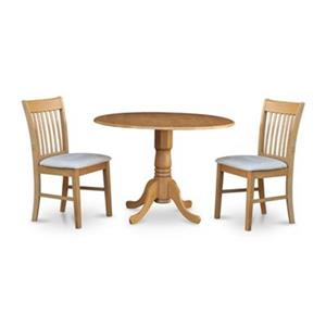 East West Furniture Dublin Round Dining Set with Microfiber