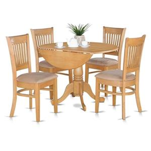 East West Furniture Dublin Cream 5-Piece Round Drop-Leaf Dining Set With Vancouver Chairs