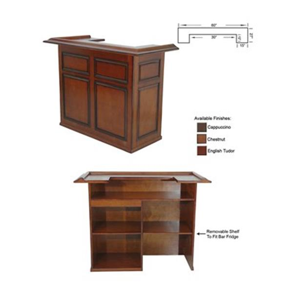 RAM Game Room Products 60-in Cappuccino Brown Wood Bar