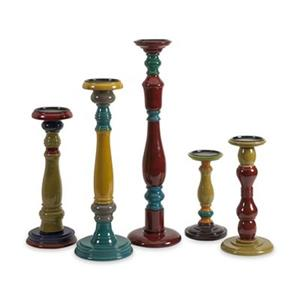 IMAX Worldwide Jasper Wood Candleholders (set of 5)