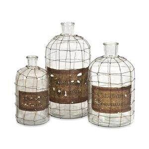 IMAX Worldwide Glass/Brass Dimora Wire Caged Bottles (Set of 3)