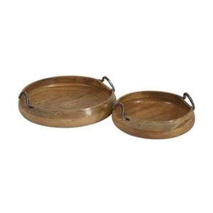 IMAX Worldwide Mango Wood/Iron Vallari Round Wood Trays (Set of 2)