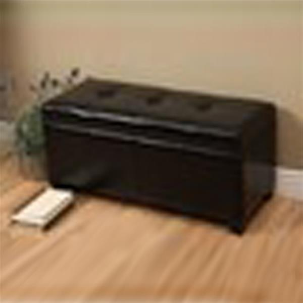 Warehouse of Tiffany Ariel Black Faux Leather Storage Bench