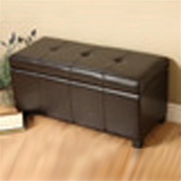 Warehouse of Tiffany Ariel Brown Faux Leather Storage Bench