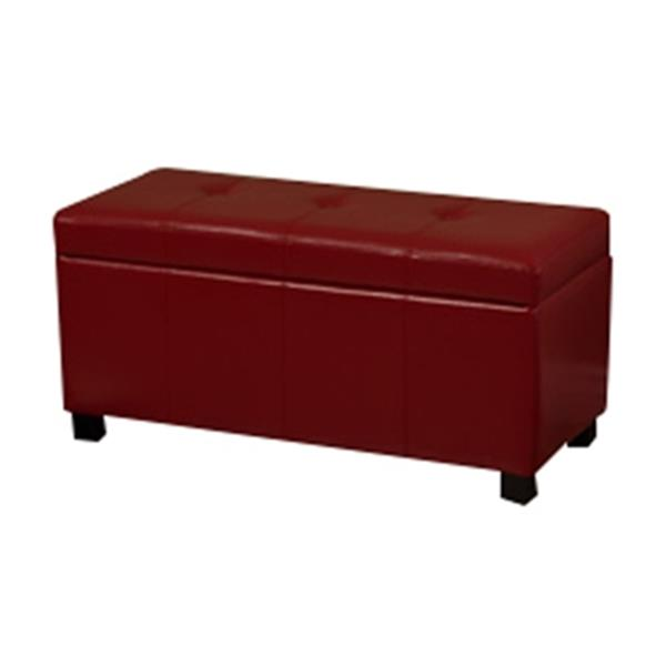 Warehouse of Tiffany Ariel Red Faux Leather Storage Bench
