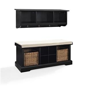 Crosley Furniture Brennan 2-Piece Black Entryway Bench And Shelf Set