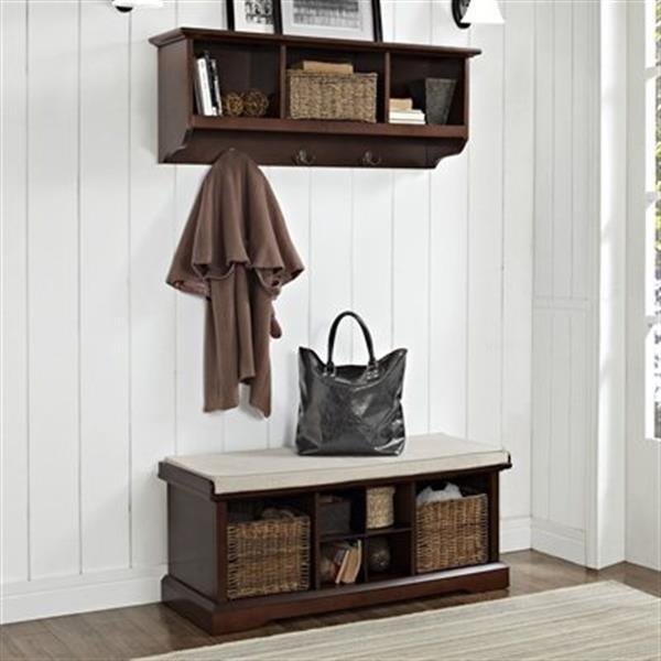 Crosley Furniture Brennan 2-Piece Mahogany Entryway Bench and Shelf Set