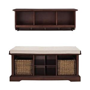 Crosley Furniture Brennan 2-Piece Mahogany Entryway Bench and Shelf Set
