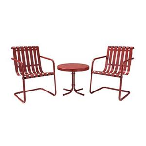 Crosley Furniture Gracie Red Metal 3-Piece Outdoor Conversation Set