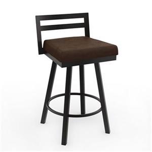 Tabouret de bar pivotant Derek 30,75 po, polyuréthane brun, métal brun foncé