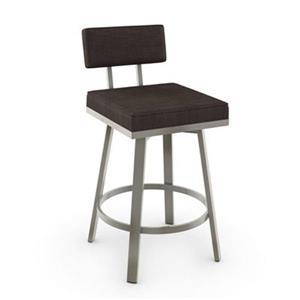 Tabouret de comptoir pivotant Staten 26 po, polyester gris brun foncé, métal gris mat