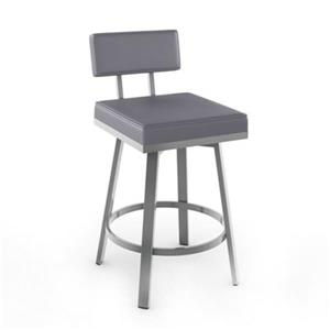 Amisco Staten 30-in Grey Swivel Bar Stool