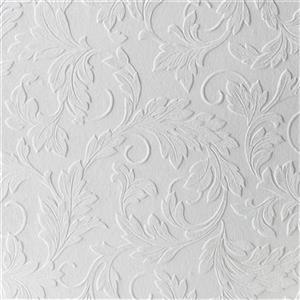 Graham & Brown Superfresco 56 sq ft White Paintable Scrolling Leaf Unpasted Wallpaper
