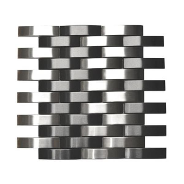 Eden Mosaic Tiles Bridge Pattern Tile - Silver/Black - 9-Pack