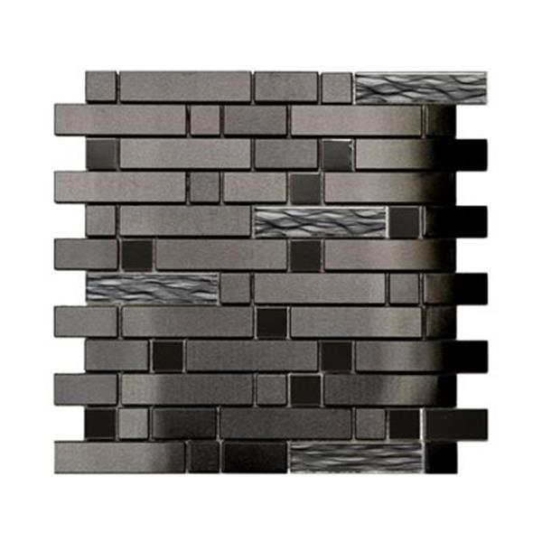 Stainless with Black Wave Glass Tile - 11-Pack.