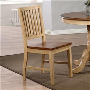 Sunset Trading Brook Slat Back 36-in x 17.5-in Two Tone Brown Pecan Dining Chair (Set of 2)