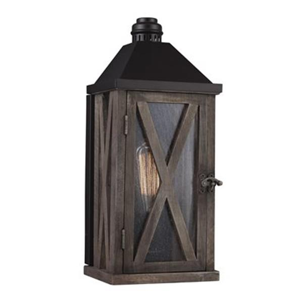 Feiss Lumiere 2-Light Outdoor Dark Weathered Oak/Oil Rubbed Bronze Wall Sconce