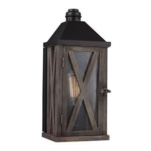 Feiss Lumiere 2-Light Outdoor Dark Weathered Oak/Oil Rubbed Bronze Wall Sconce.