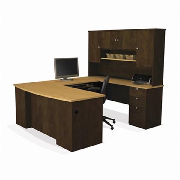 "Bureau d'ordinateur en forme de U Bestar, 70"" x 71"", brun chocolat"