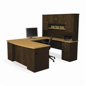 "Manhattan U-Shaped Office Desk - 70"" x 71"" - Chocolate Brown"
