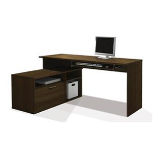 Bestar Modula 30.10-in x 59.50-in Tuxedo L-Shaped Workstation